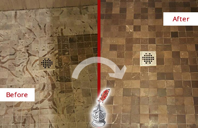 Before and After Picture of a Stained Great Falls Marble Shower Floor Cleaned to Remove Etching