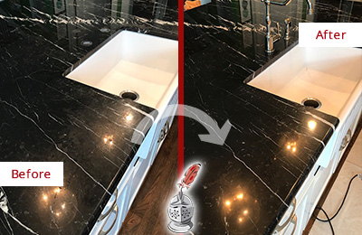 Before and After Picture of a Chantilly Marble Kitchen Countertop Stone Sealed to Avoid Water Damage