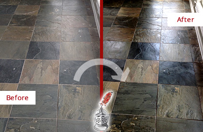 Before and After Picture of a Chantilly Slate Stone Floor Sealed to Eliminate Dullness