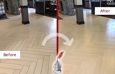 Before and After Picture of a Aldie Hard Surface Restoration Service on an Office Lobby Tile Floor to Remove Embedded Dirt