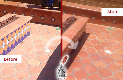 Before and After Picture of a Brentwood Hard Surface Restoration Service on a Dull Terracotta Patio Floor to Recover Its Color