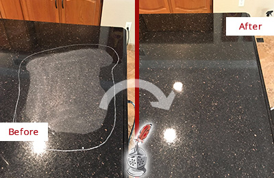 Before and After Picture of a Rockville Hard Surface Restoration Service on a Granite Countertop to Remove Scratches