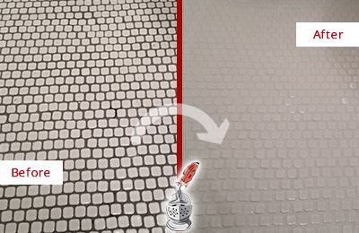 Before and After Picture of a Rockville Hard Surface Restoration Service on a Bathroom Tile Floor Recolored to Fix Grout Color