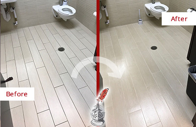 Before and After Picture of a Broad Run Office Restroom's Grout Cleaned to Remove Dirt
