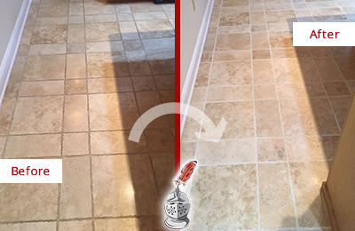 Before and After Picture of a Bethesda Travertine Kitchen Floor Recolored Grout