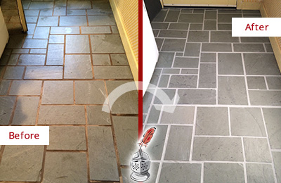 Before and After Picture of Damaged Alexandria Slate Floor with Sealed Grout