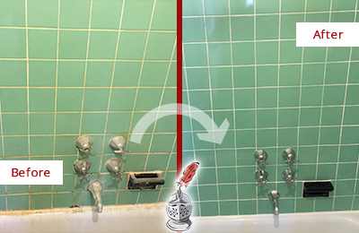 Before and After Picture of a Alexandria Bath Tub Grout Sealed to Avoid Water Damage