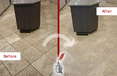 Before and After Picture of a Alexandria Kitchen Floor Grout Sealed to Remove Stains