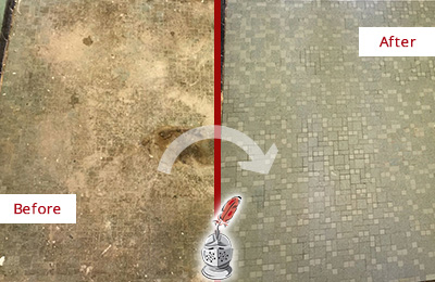 Before and After Picture of a Bluemont Mosaic Shower Cleaned to Eliminate Embedded Dirt