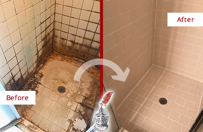 Before and After Picture of a Trinidad Ceramic Shower Cleaned to Remove Grime