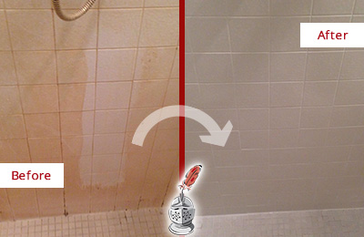 Before and After Picture of a Arlington Porcelaine Shower Cleaned to Remove Soap Scum