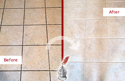 Before and After Picture of a Trinidad Ceramic Floor Cleaned to Remove Soil